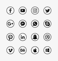 Social media glossy style logo set vector
