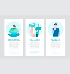 Social media - set of flat design style colorful vector