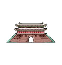 South korea old landmark pagoda sketch cartoon vector