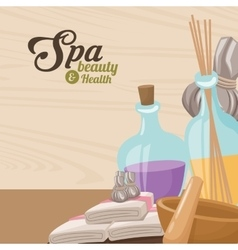 Spa beauty and health towel aroma therapy herbal vector