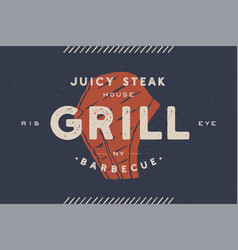 steak logo meat label logo with steak vector image