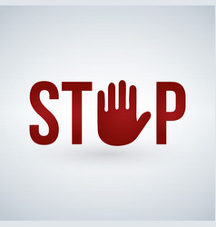 stop sign with red hand isolated on white vector image