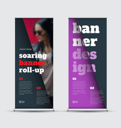 Template roll-up banner with geometric elements vector