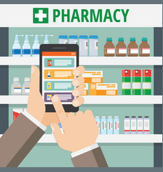 the concept of online pharmacy vector image