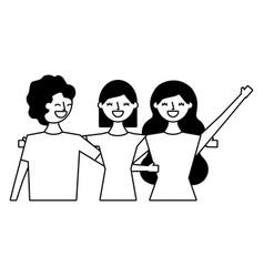 three women hugging friends vector image
