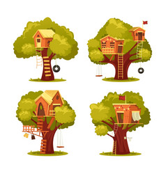 Treehouse for kids or children home on tree vector
