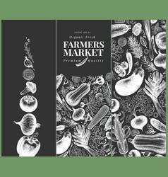 vegetables hand drawn banner set retro engraved vector image
