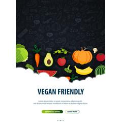 Vegetarian banner hand-draw doodle background vector