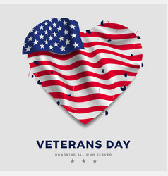 Veterans day poster realistic american flag with vector