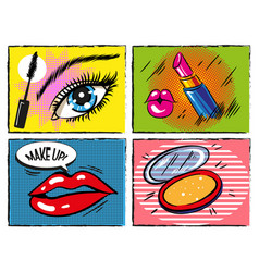 vintage comic pop art makeup and cosmetic vector image