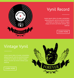 vintage vinyl record set posters with text vector image