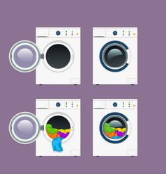 Wash machine set vector