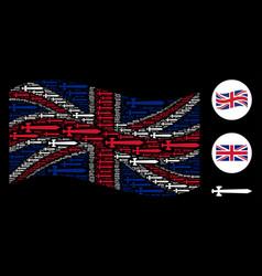 waving united kingdom flag collage of medieval vector image