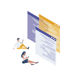 Webpage templates with mini people workers vector