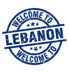 Welcome to lebanon blue stamp vector
