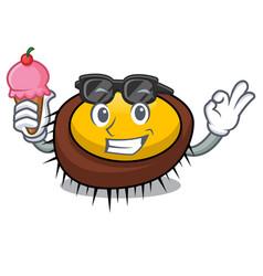 with ice cream sea urchin character cartoon vector image