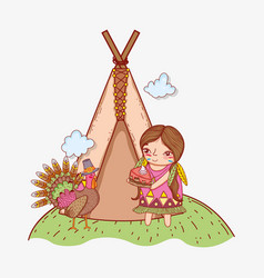 Woman indigenous with cake food and turkey vector