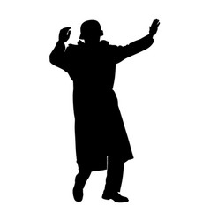 Ww2 soldier surrender with raised hands silhouette vector