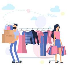 yong man and woman at shopping vector image