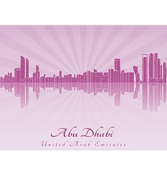 Abu Dhabi skyline in radiant orchid vector image vector image