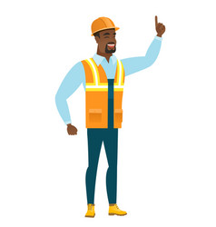 african builder pointing with his forefinger vector image vector image