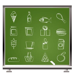 chalk food and drink icons vector image