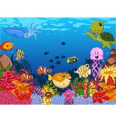 funny sea animals cartoon set with sea life vector image vector image
