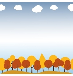 Landscape with autumn trees Seamless pattern vector image vector image