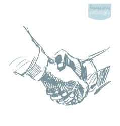People shake hands partnership drawn sketch vector image vector image