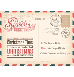 Vintage Christmas Happy New year holiday postcard vector image vector image