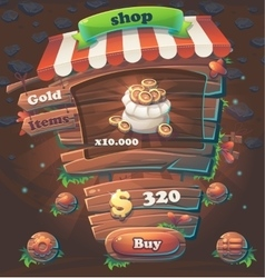 Wooden game user interface window shop vector