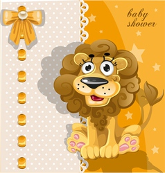 Yellow baby shower card with cute cartoon lion vector image vector image