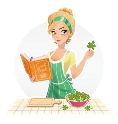 Beautiful girl cook food vector image vector image