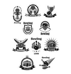 bowling game championship awards icons set vector image
