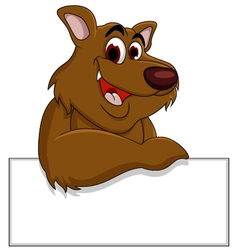 brown bear cartoon with blank sign vector image
