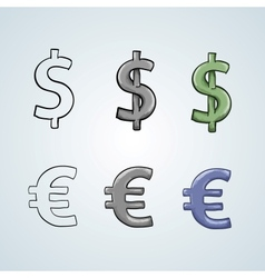 dollar and euro sign set vector image