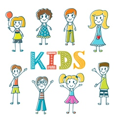 Hand drawn cute little kids Collection of cartoon vector image vector image