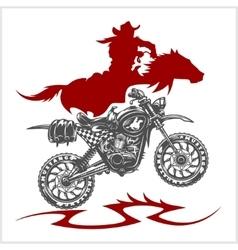 Motocross Moto and Horse - emblem vector image