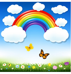 rainbow and grass vector image vector image