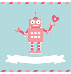 Valentines Day cute robot card vector image vector image