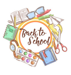 back to school hand drawn background educational vector image