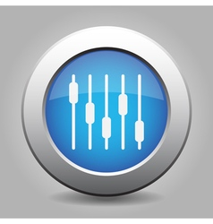 blue metallic button white equalizer symbol icon vector image