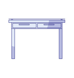 blue shading silhouette of simple wooden home desk vector image