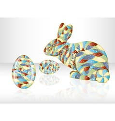 Colorful easter eggs and rabbit vector image