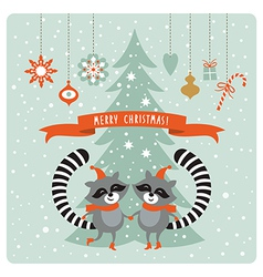 Cute raccoons greeting card vector