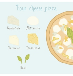 Four cheese pizza ingredients vector image vector image