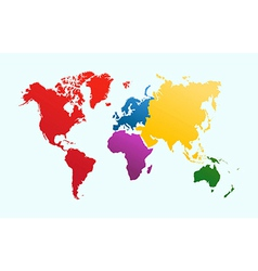 World map colorful continents atlas EPS10 file vector image