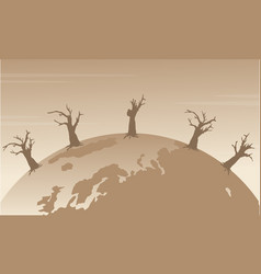 silhouette of world with forest on fire vector image vector image