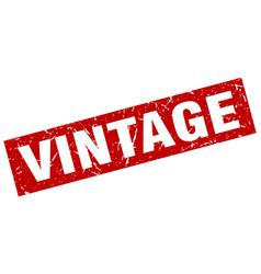 Square grunge red vintage stamp vector