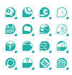 stylized computer mobile phone and internet icons vector image